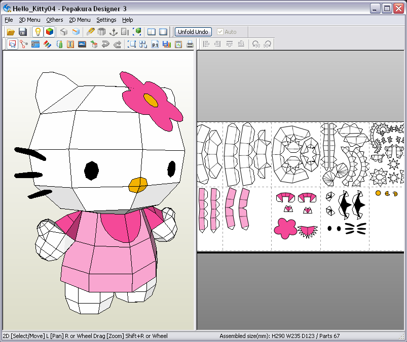 This is the template of Hello Kitty from Pepakura Model (29 cm high ...